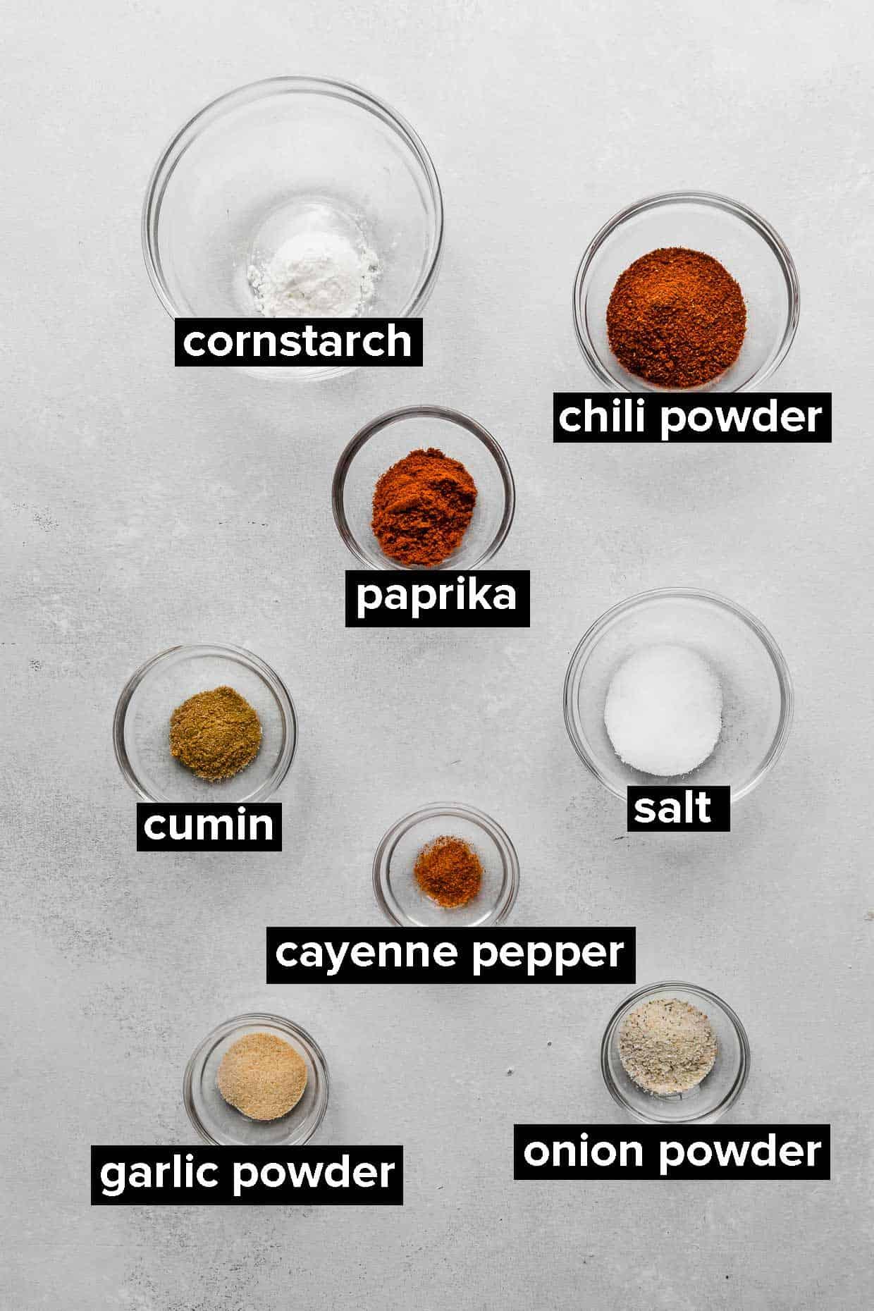 Ingredients used to make homemade fajita seasoning.