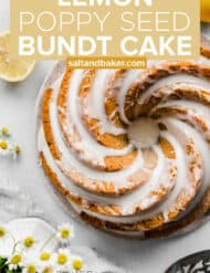 Overhead photo of a glazed lemon poppy seed Bundt Cake.