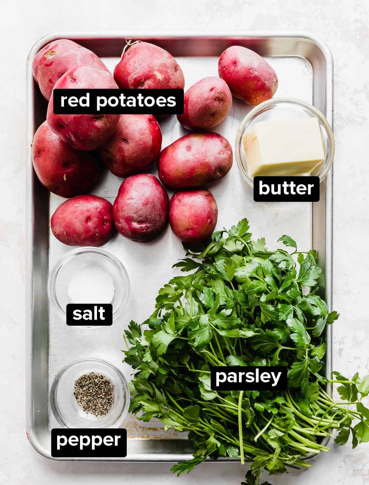 Ingredients used to make parsley potatoes.