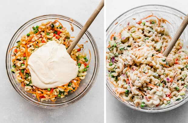 Two photos, the left photo has a mayo mixture overtop tuna macaroni salad; the right photo is the dressing mixed into the macaroni salad.