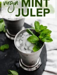 A virgin mint julep with crushed ice and a mint sprig.