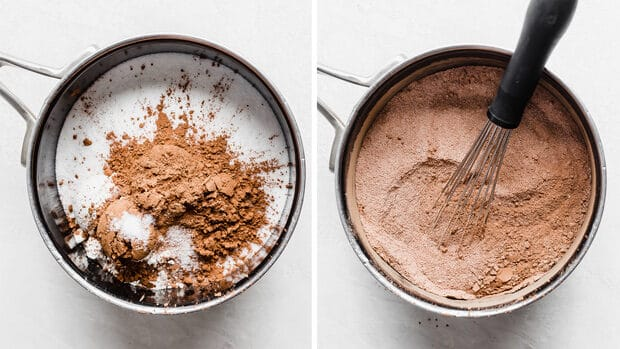 Two photos: saucepan with sugar, cocoa, and salt, right photo all of the ingredients are whisked together in the saucepan.