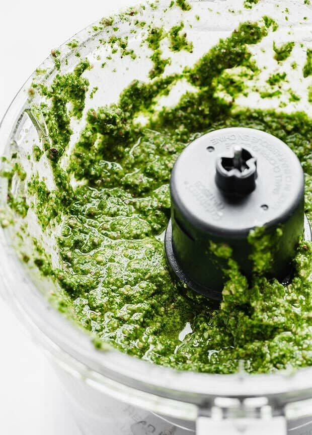 Kale pesto in a food processor.
