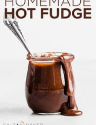 A jar full of homemade hot fudge.