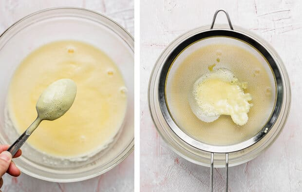Two side-by-side photos: left is the back side of a metal spoon covered in a yellow sauce; right photo shows a fine mesh strainer over a glass bowl.