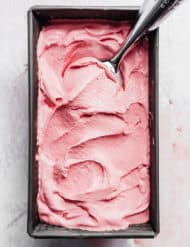 A square pan full of Raspberry Ice Cream.