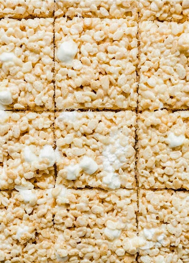Overhead photo of rice Krispy treats cut into squares.