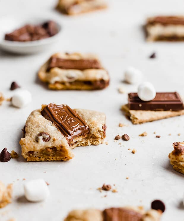 A s'mores cookie on a white background.