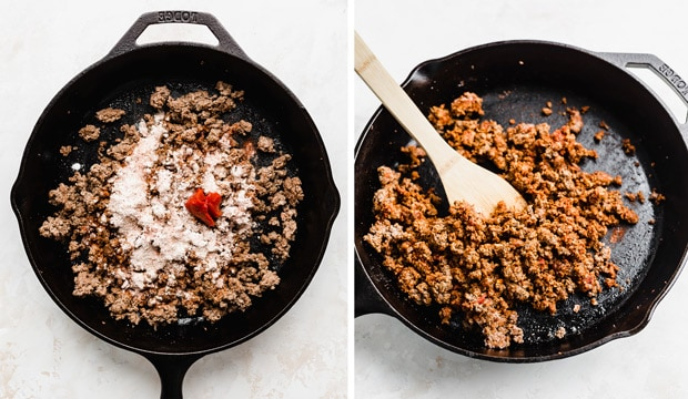 A photo collage of a cast iron skillet full of ground beef and dry seasonings on the meat.