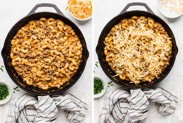 A 2 photo collage of a cast iron skillet full of a cheesy macaroni pasta and ground beef.