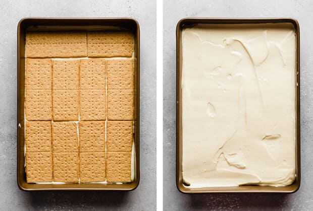 Two photos: left photo is of a 9x13 inch pan lined with graham crackers, and the right photo is of the same pan but with vanilla pudding overtop of the crackers.