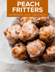 A plate full of peach fritters.