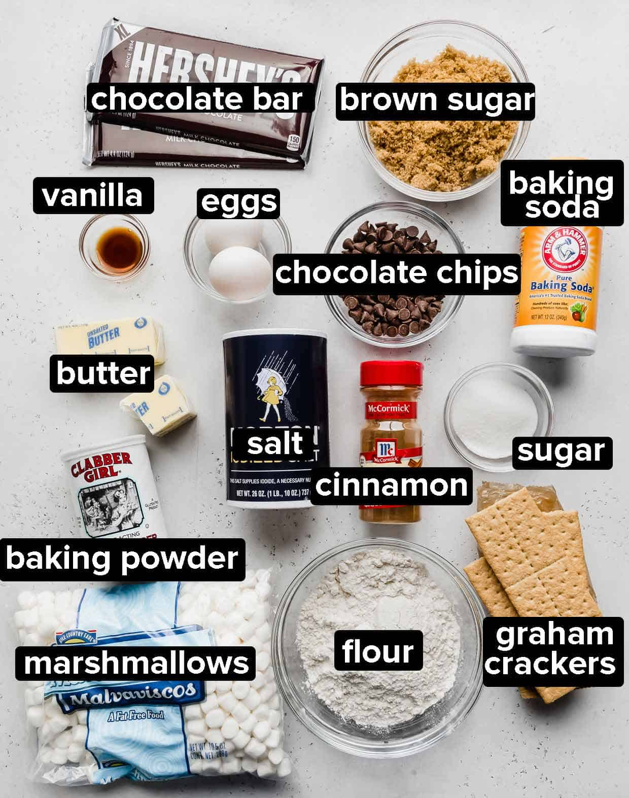 Ingredients used to make S'mores cookies on a white background.