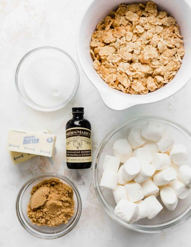 A spread of ingredients used to make Special K cereal treats, on a white background.