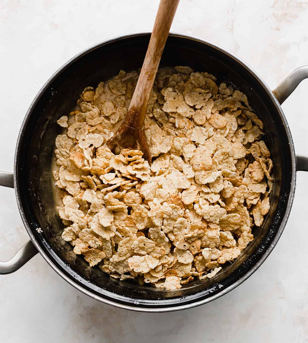 A pot full of Special K cereal.