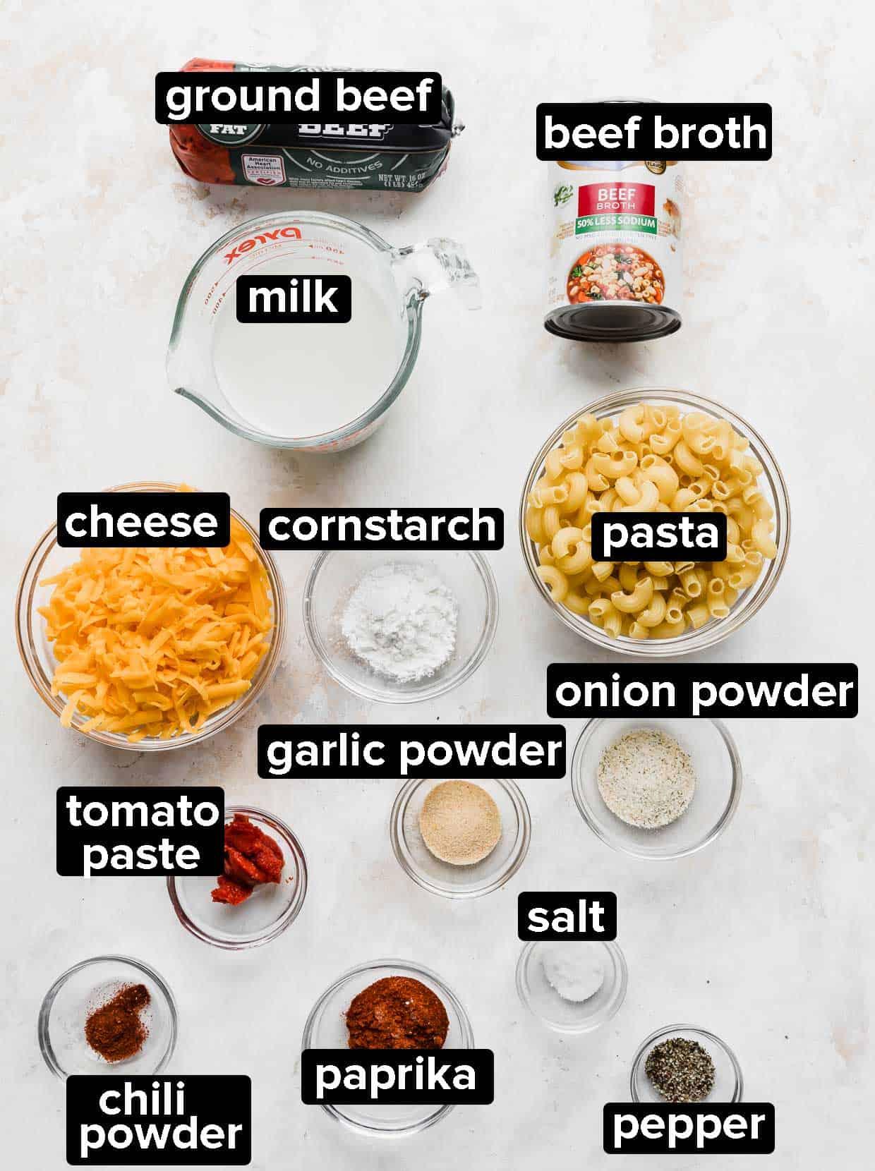 Ingredients used to make homemade hamburger helper.