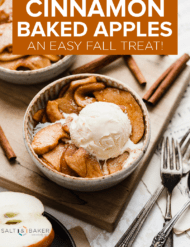 Cinnamon Baked Apples in a bowl topped with vanilla ice cream.