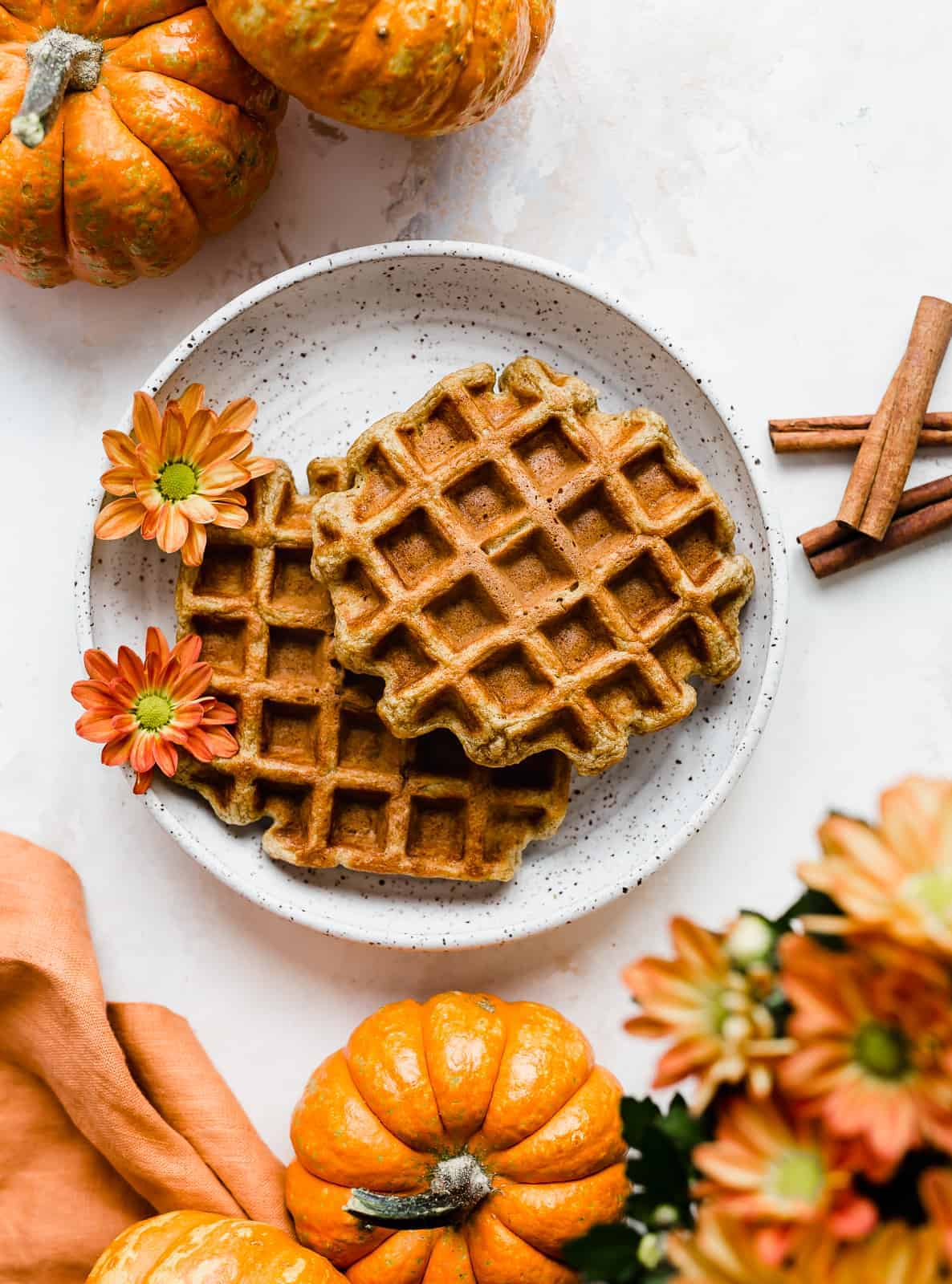 Pumpkin Waffles against a white background.
