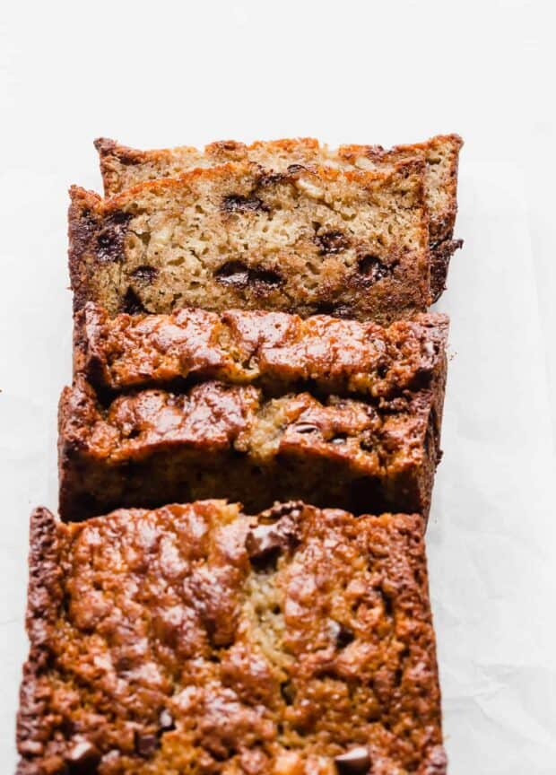 A loaf of sliced Chocolate Chip Banana Bread.