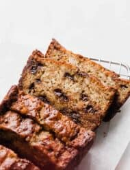 Slices of Chocolate Chip Banana Bread against a white background.