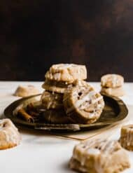 Cinnamon Roll Cookies on a bronze platter.