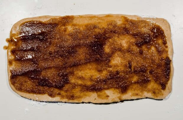 A rectangle piece of cookie dough batter covered in a cinnamon sugar mixture.