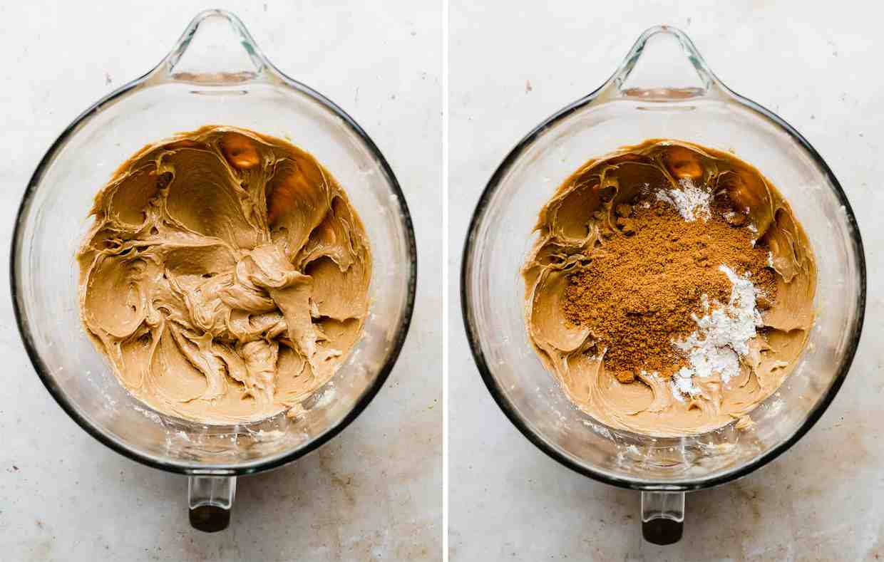 Two photos, one shows crushed biscoff cookies and flour added and the other shows creamed batter.