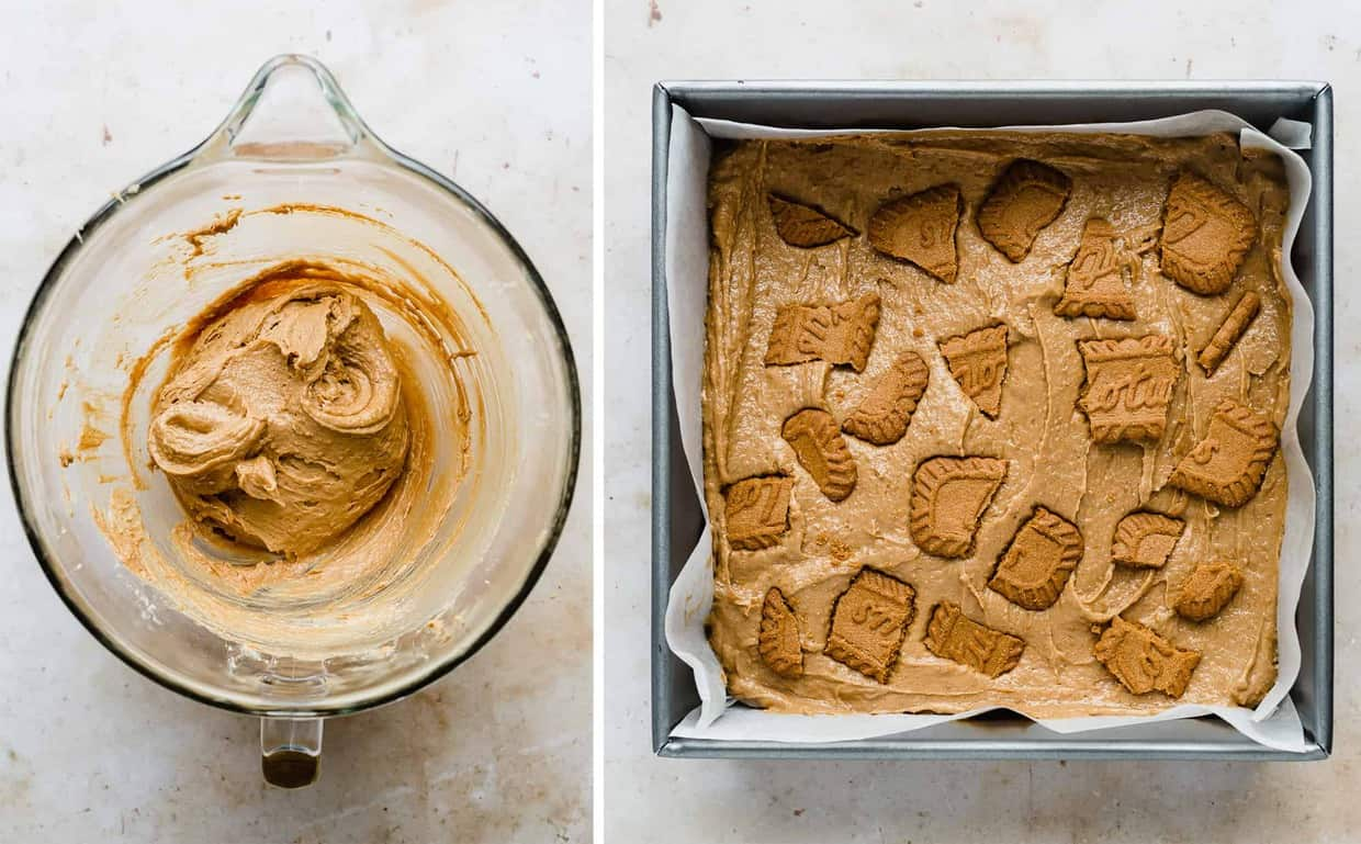Brown brownie batter in a bowl, and second photo shows the brownie batter in a parchment lined square pan.