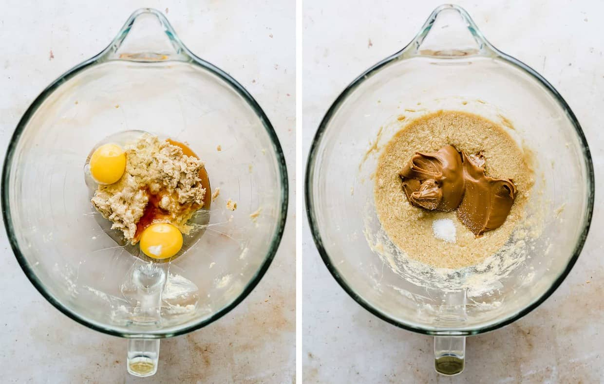 Two eggs added to a glass bowl with creamed butter and sugar, with a second photo depicting cookie butter being added in.