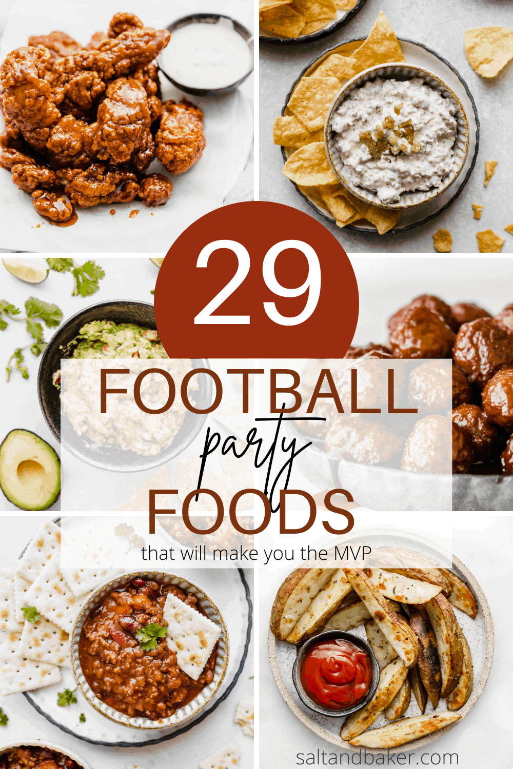 a photo collage of football food to make for game day.