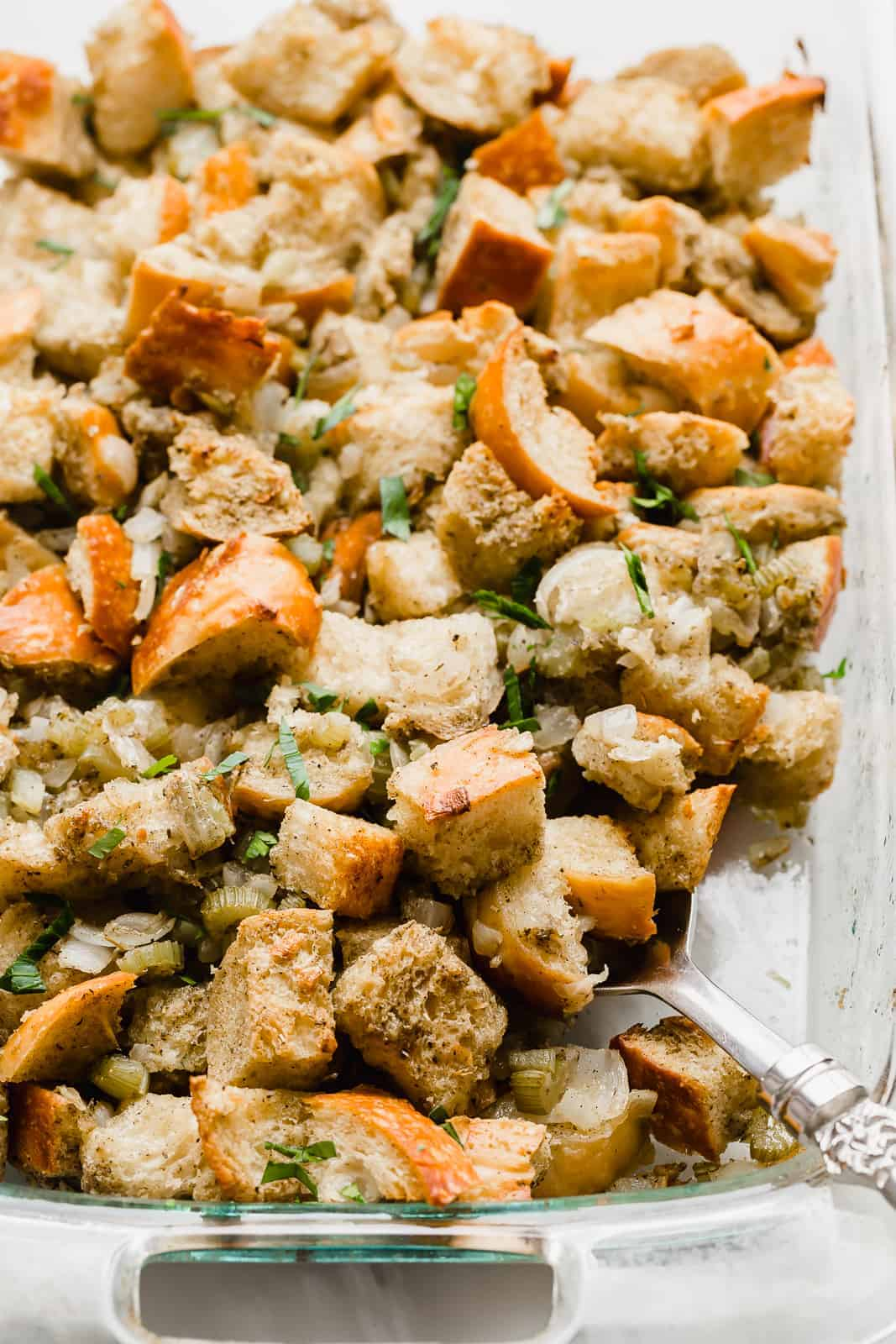 Homemade Thanksgiving Stuffing in a casserole dish.