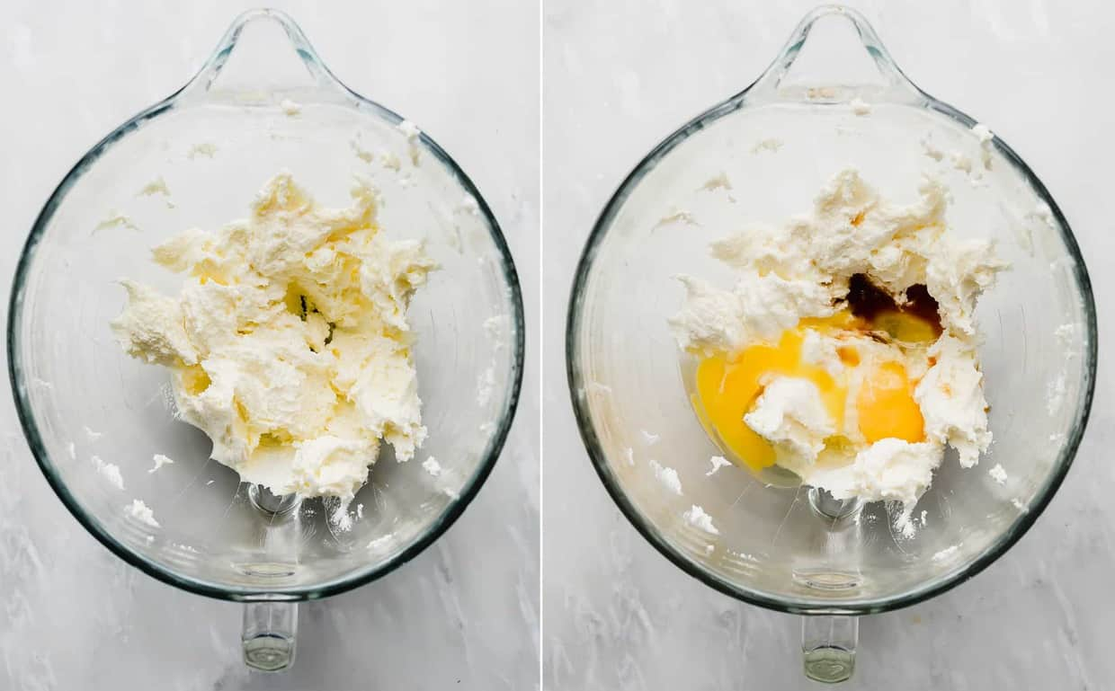 A glass bowl with creamed butter and sugar, eggs, and vanilla.