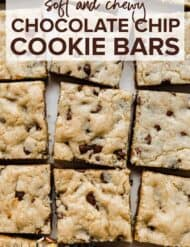 Chocolate Chip Cookies bars cut into squares.