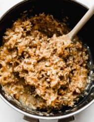 A saucepan with fresh made German Chocolate Cake Frosting in it.