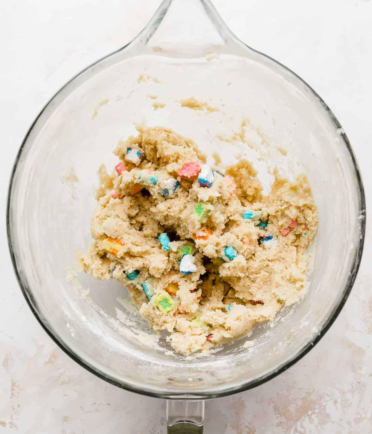 Lucky Charms marshmallows mixed into sugar cookie dough.