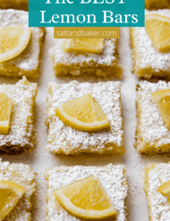 Lemon bars sprinkled with powdered sugar lined up on a white background, with a quarter slice of fresh lemon on each square.