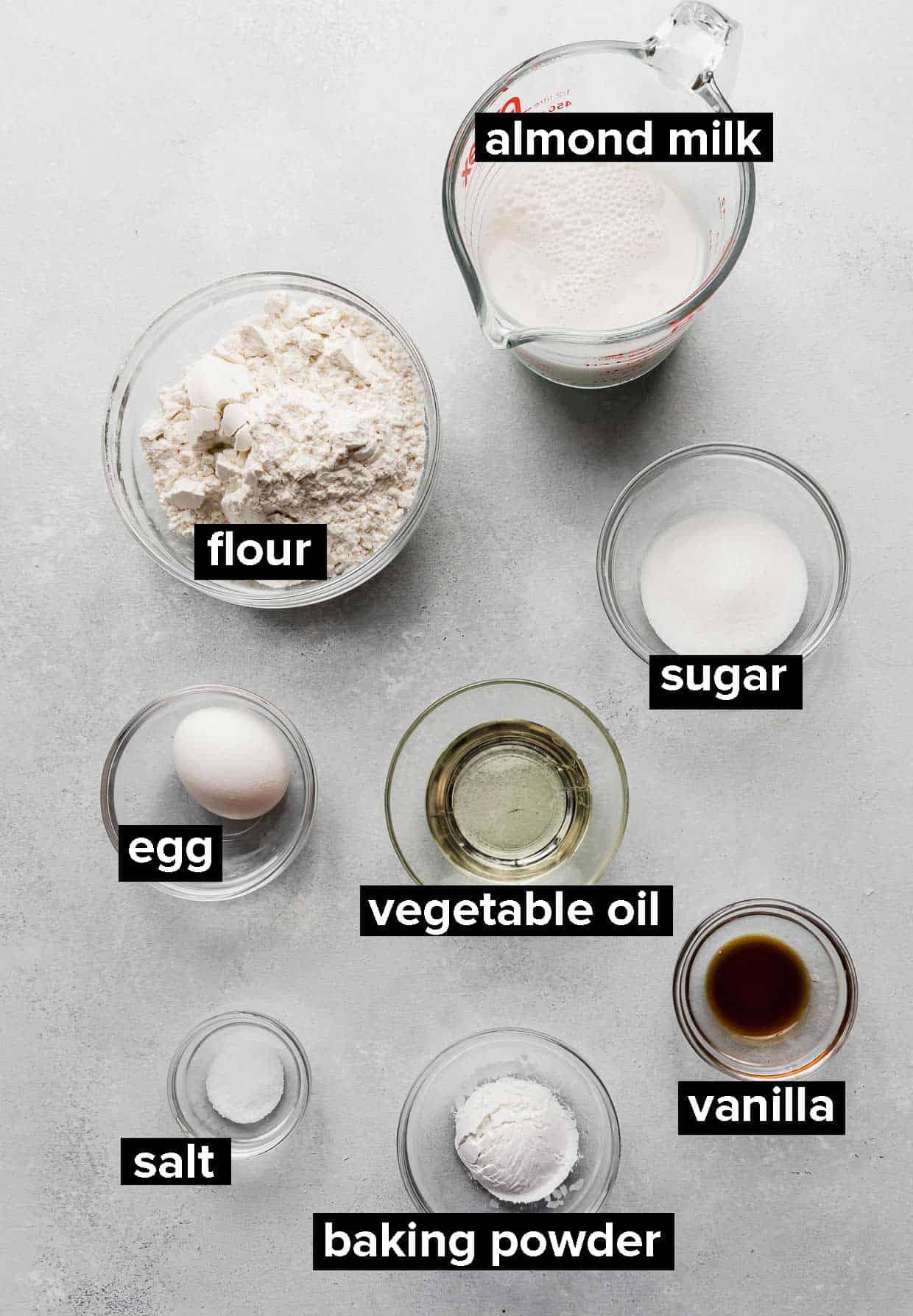 Ingredients used to make Almond Milk Pancakes.