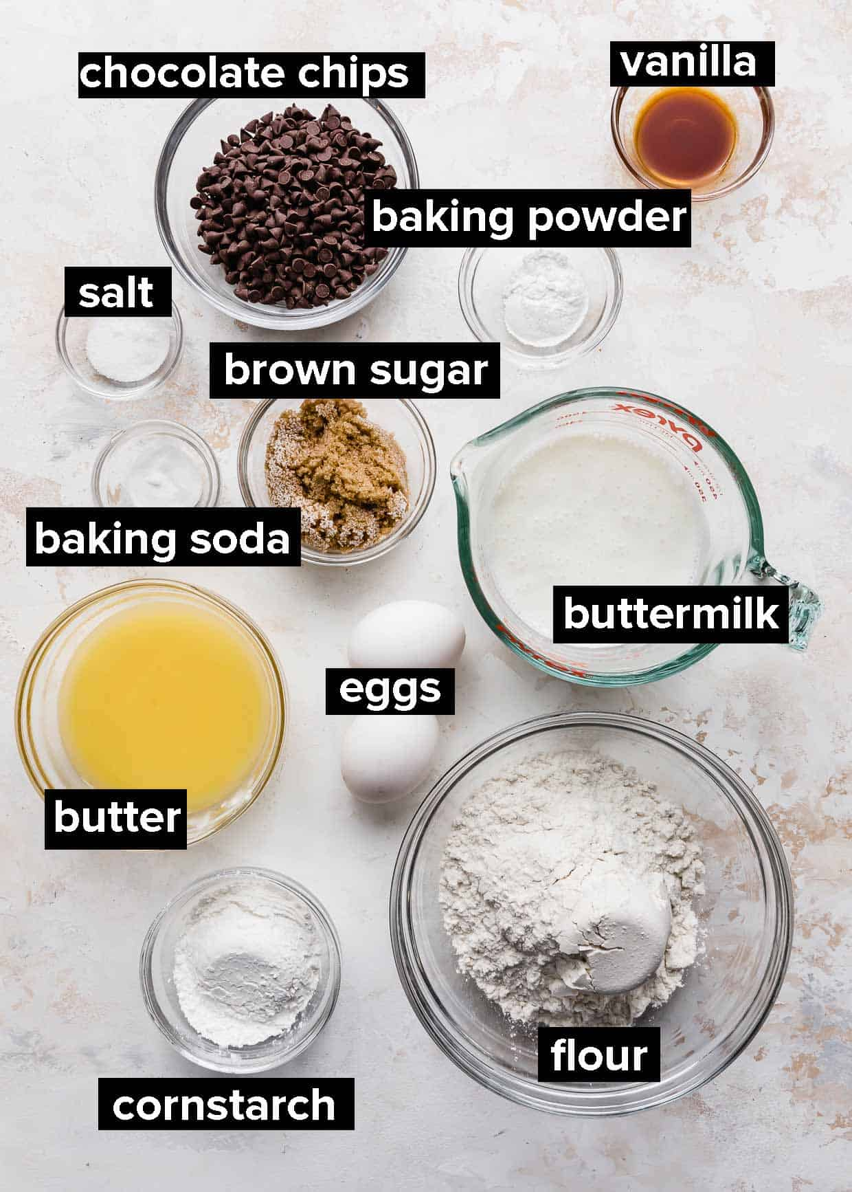 Ingredients used to make chocolate chip waffles.