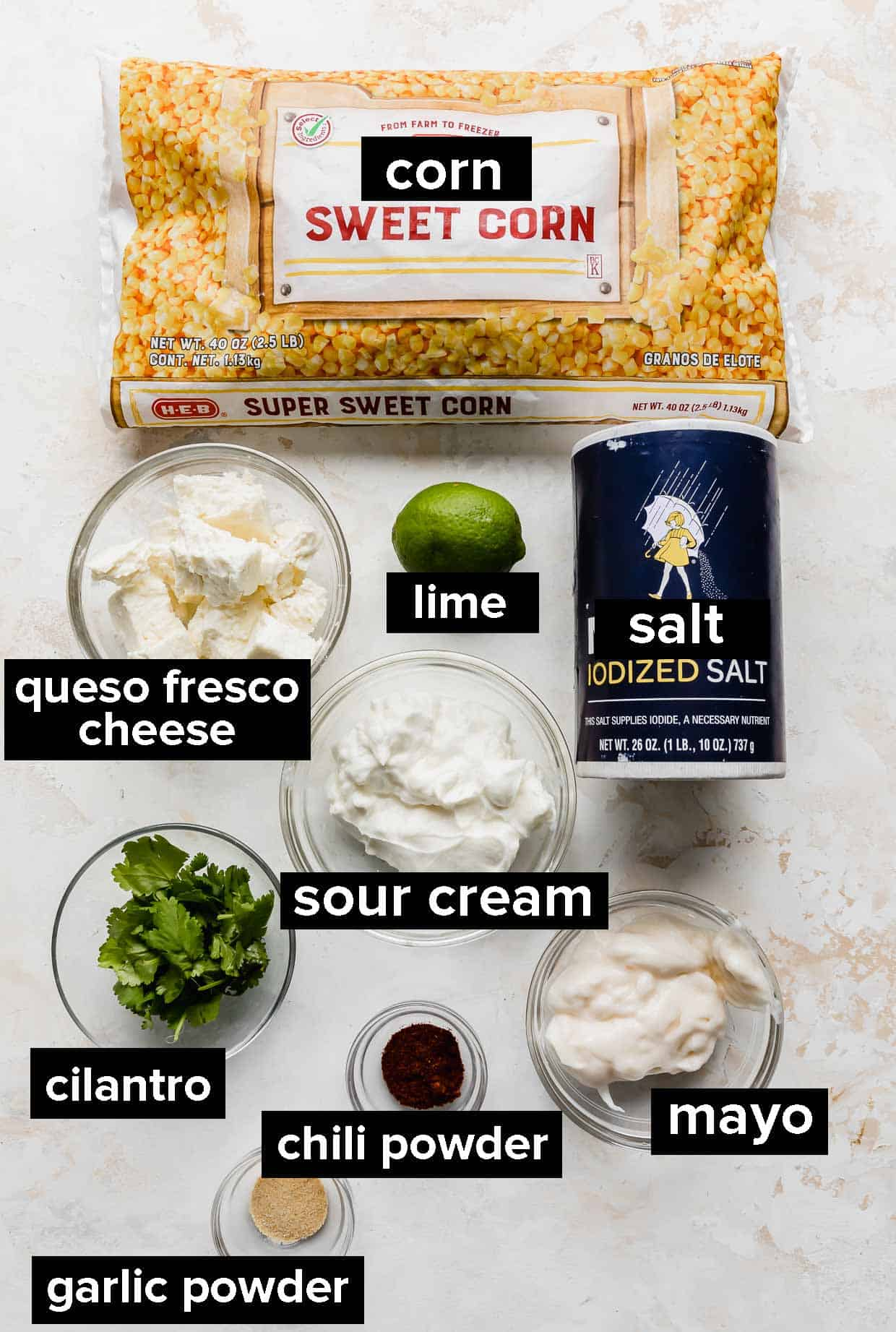 Ingredients used to make Mexican street corn casserole.