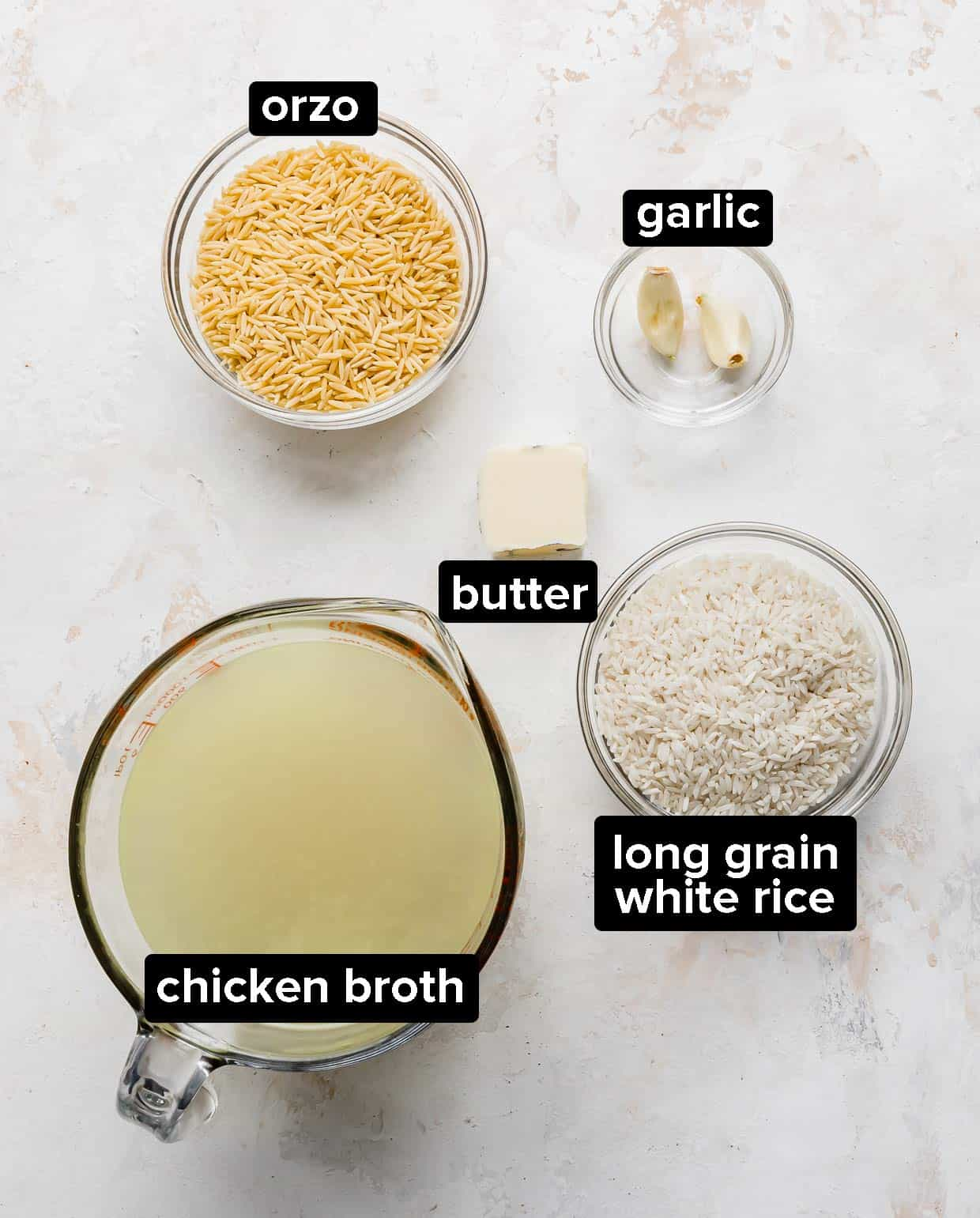 Ingredients used to make Orzo rice.