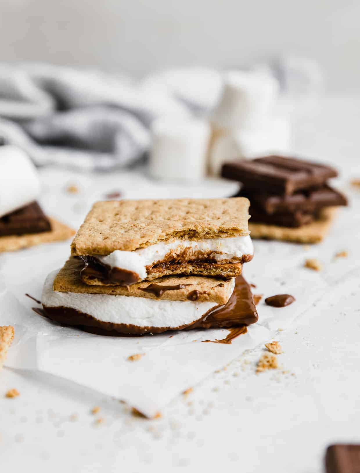 An Oven S'more with a bite taken out of it.