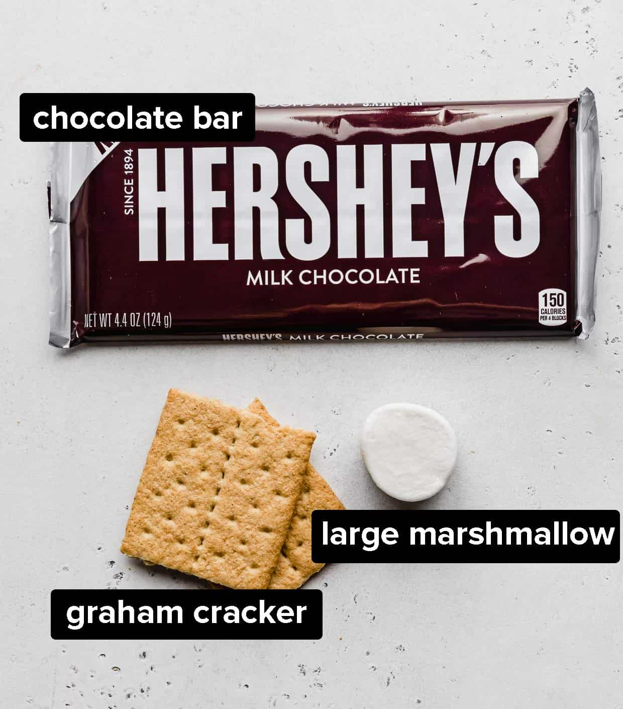 Ingredients used to make s'mores in the microwave.