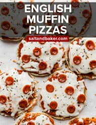 English muffin pizzas on a white background.