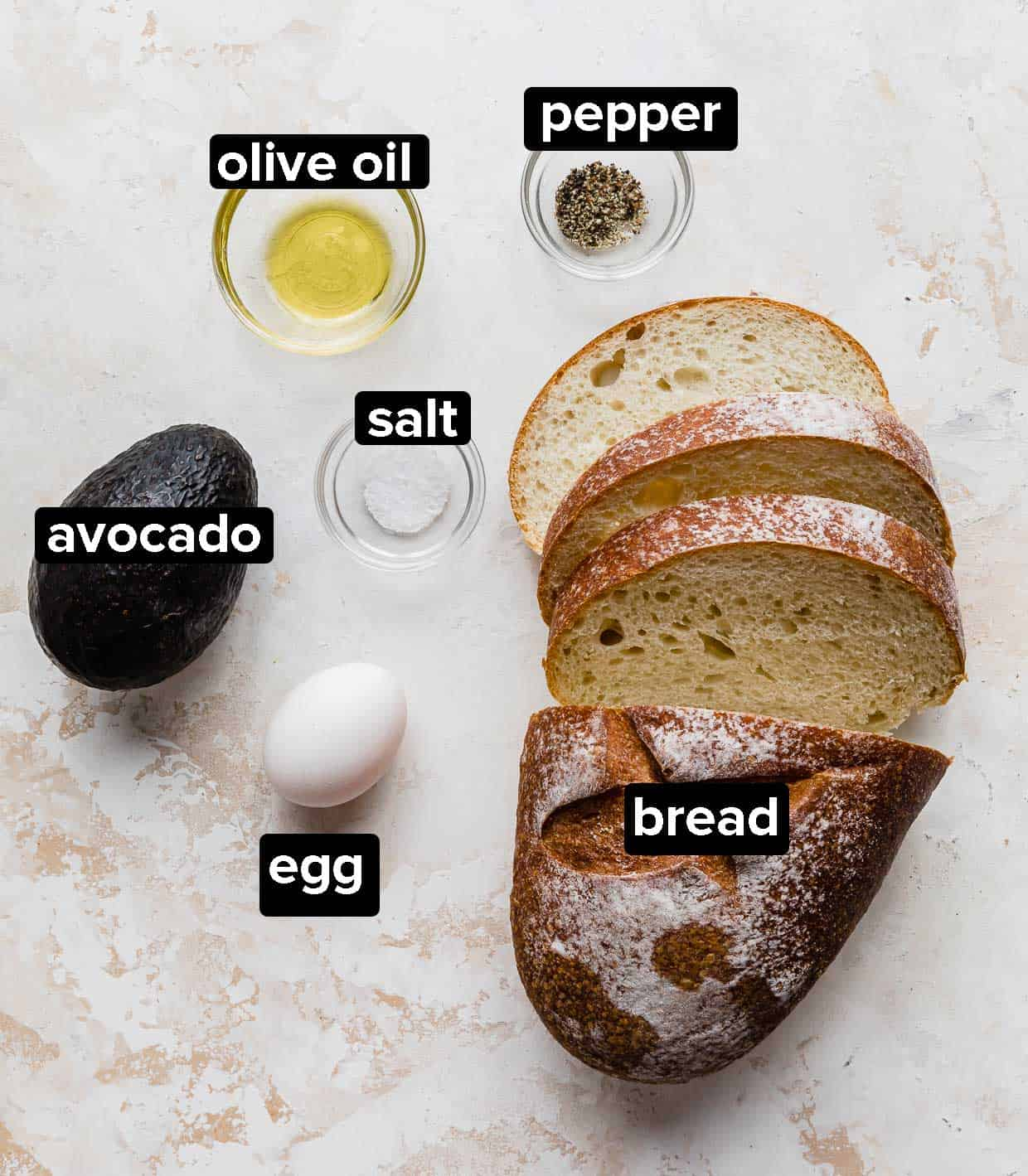 Ingredients used to make Avocado and Egg Toast.