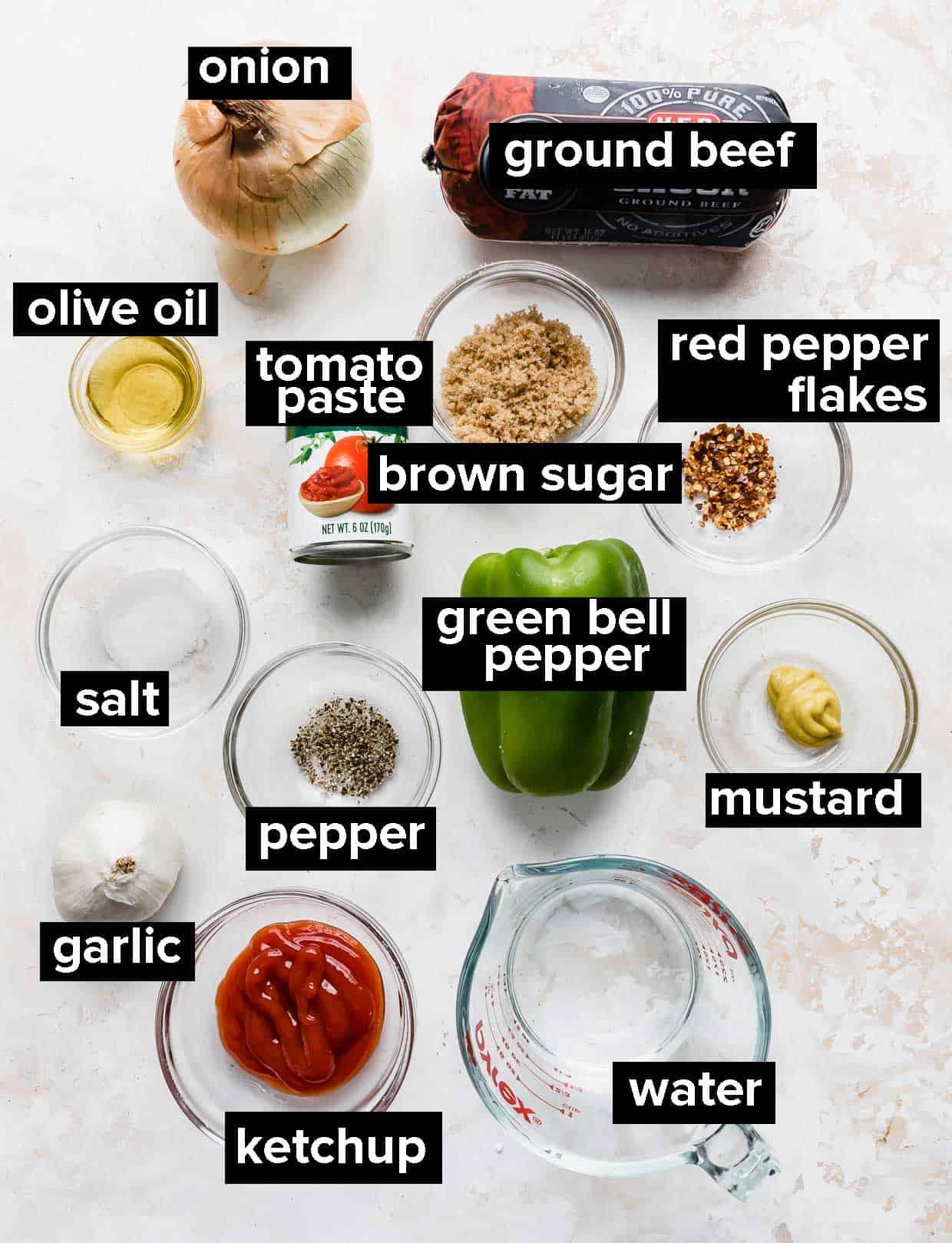 Ingredients used to make homemade sloppy joes.