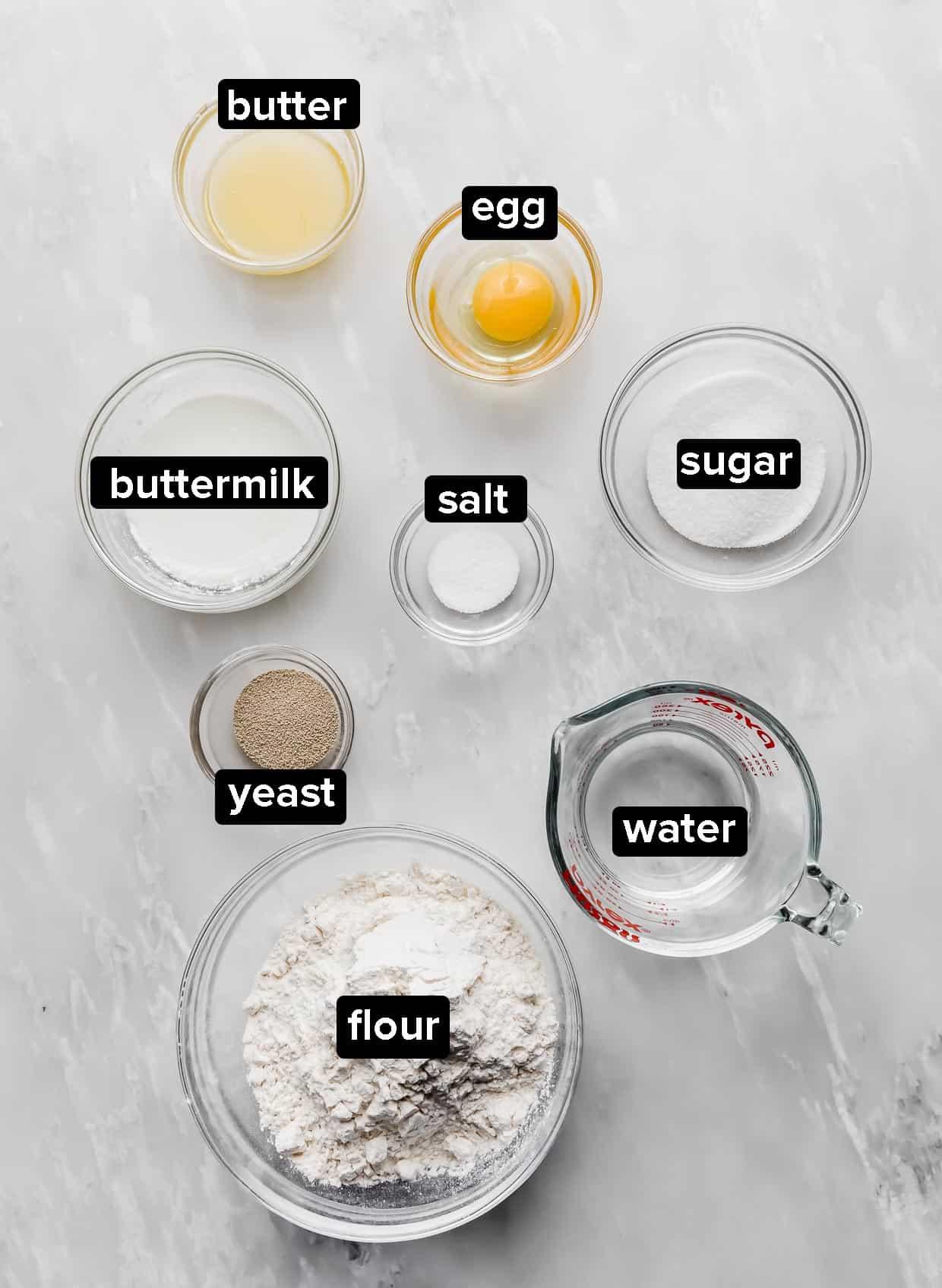 Ingredients used to make mini cinnamon rolls.