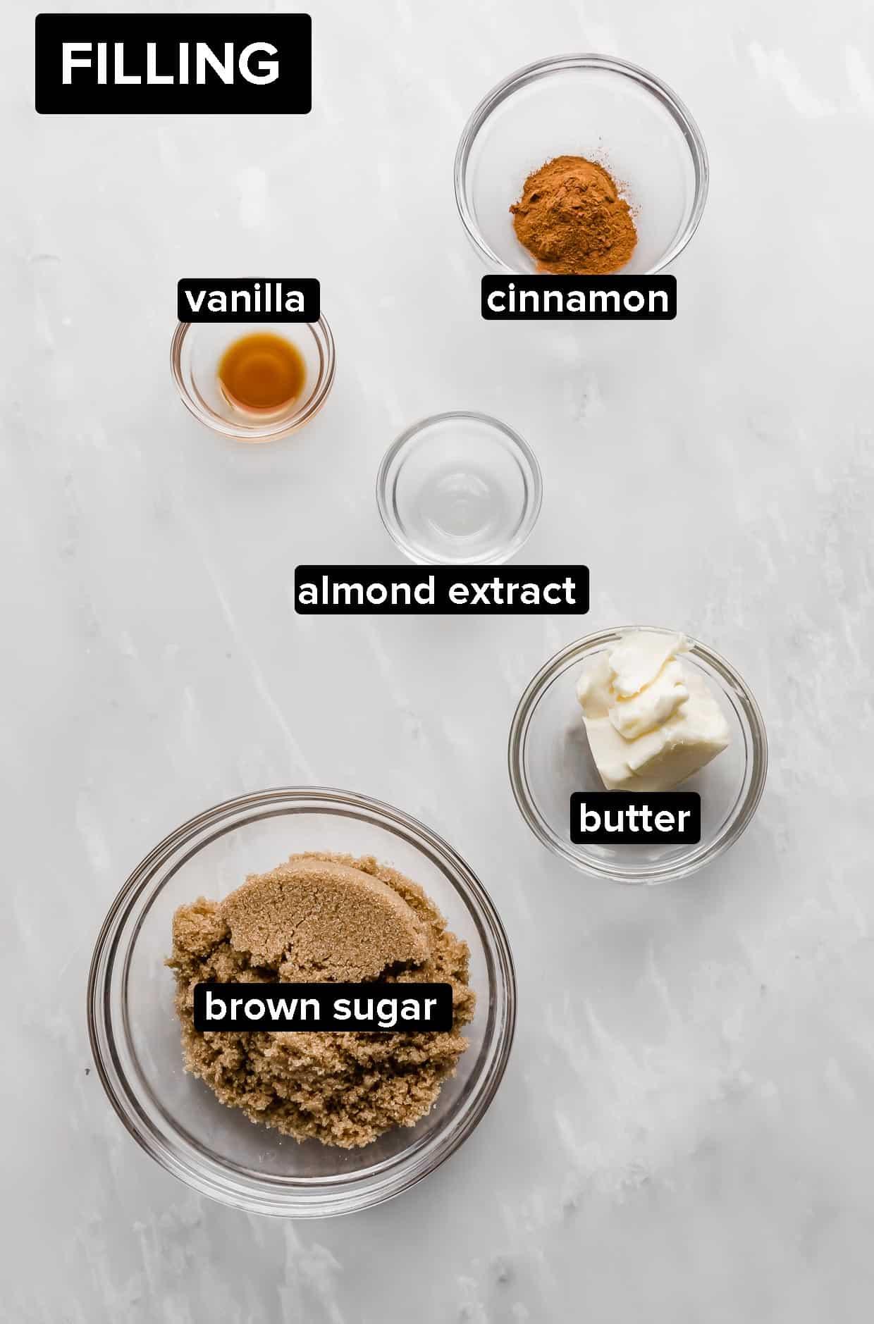 Ingredients used to make the cinnamon sugar filling for cinnamon rolls.