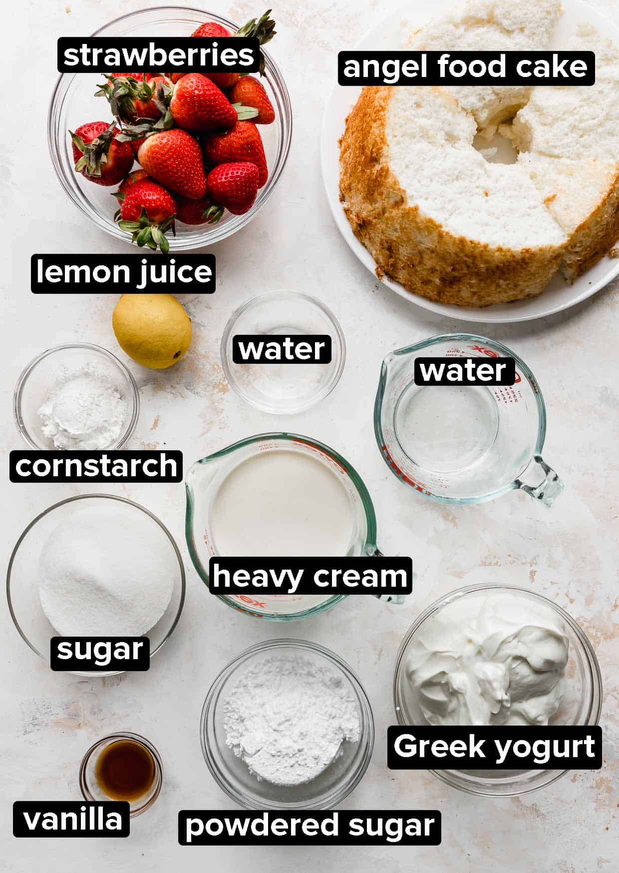 Ingredients used to make a Strawberry Shortcake Trifle.