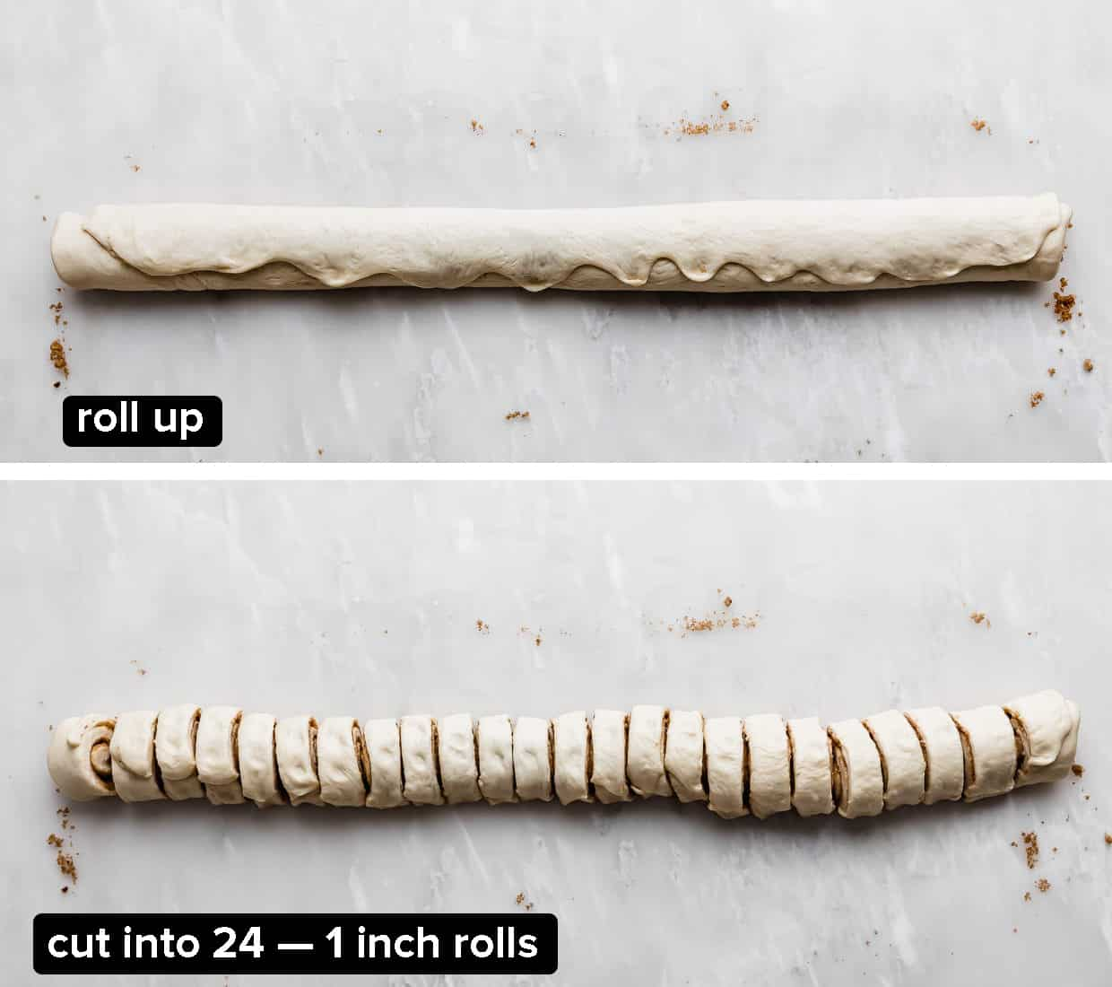 Two images showing a tube of dough rolled up and the bottom photo shows the dough cut into 24, 1 inch pieces.