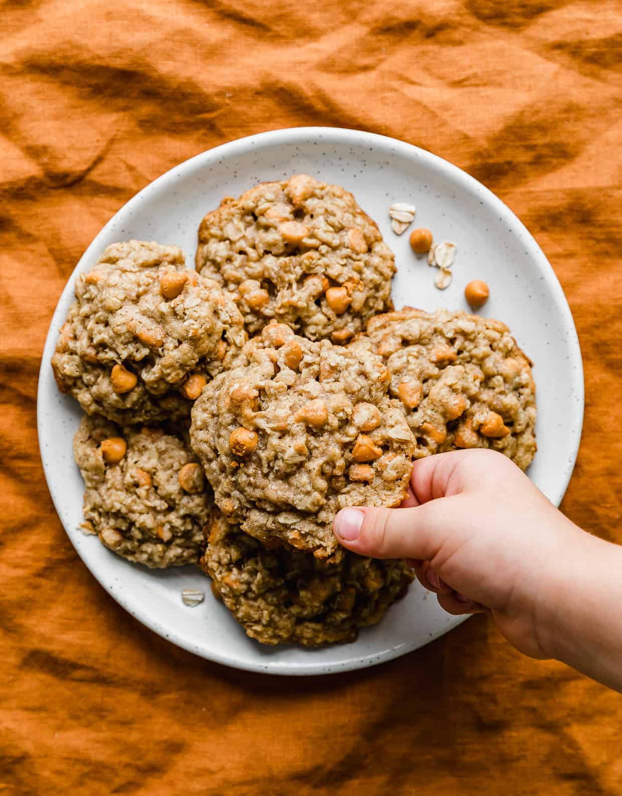 A hand grabbing an Oatmeal Butterscotch Cookie from a white plate.